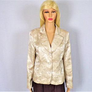 Ivory blazer size 6 embossed floral pattern